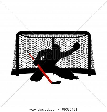 illustration of two color hockey goal keeper silhouette isolated on white background