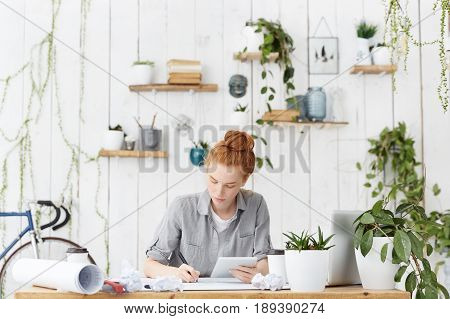 Good-looking European Female Designer With Ginger Hair Wearing Casual Shirt Having Serious Expressio