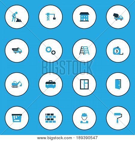 Industry Colorful Icons Set. Collection Of Maintenance, Stairs, Worker And Other Elements. Also Includes Symbols Such As Meter, Case, Home.