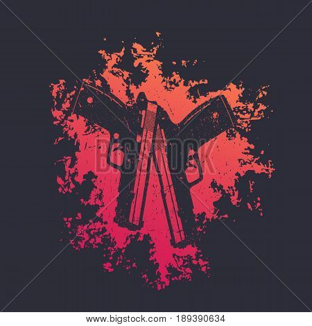 2 pistols on red splash, two crossed guns, t-shirt print with handguns, vector illustration