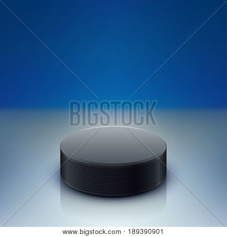 illustration of hockey puck lying on dark rink with reflection