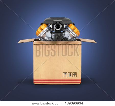 Engine In A Cardboard Box Concept Of Sale And Delivery Of Auto Parts On Dark Blue Gradient Backgroun