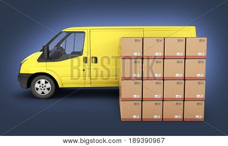 Yellow Delivery Van With Cardboard Boxes Side View On Dark Blue Gradient Background 3D
