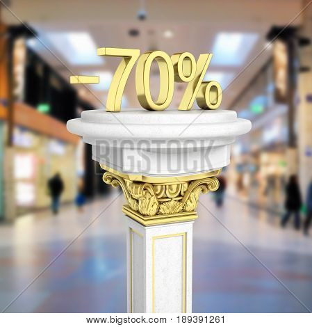 Gold Text 70 Percent Off Standing On The Pedestal Isolated On Shopping Center Background 3D Render