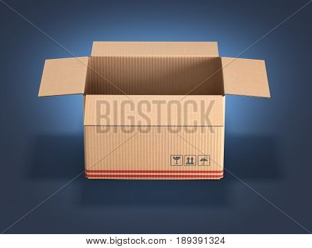 Cardboard Box On Dark Blue Gradient Background 3D