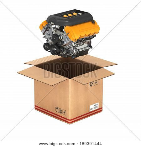 Engine With A Cardboard Box Concept Of Sale And Delivery Of Auto Parts Without Shadow On White Backg