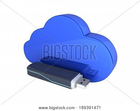 Concept Of Cloud Storage Usb Flash Drive With Cloud Without Shadow On White Background 3D
