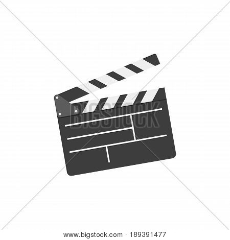 Movie clapper board in flat style. Cinema icon set. Vector illustration.