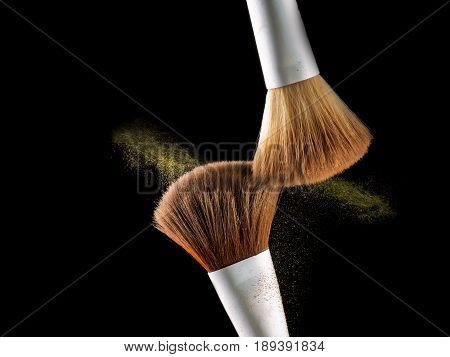 Cosmetic Makeup Brushes On  Black Background Flash Explosion Splash Powder Shadow Blush.