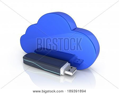 Concept Of Cloud Storage Usb Flash Drive With Cloud Isolated On White Background 3D