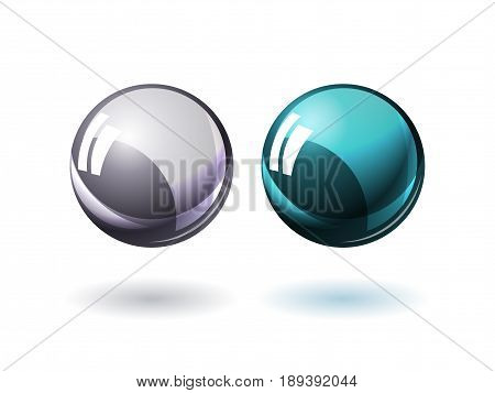 Glossy glass spheres, realistic vector balls with reflections illustration