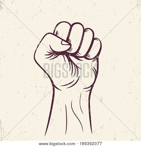 fist held high vector, revolt, protest sign, vector illustration, eps 10 file, easy to edit