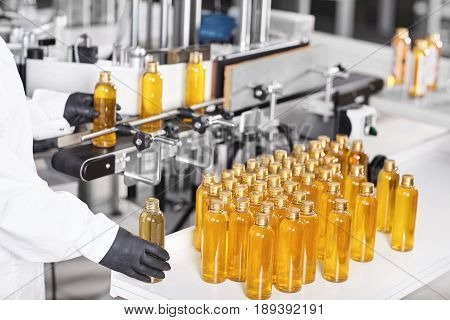 Research, Science, Innovation, Technology, Automation And Production. Process Of Producing Medicine,