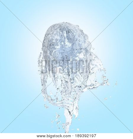 Jet Of Water Upward Stream Isolated On Blue Gradient Background 3D