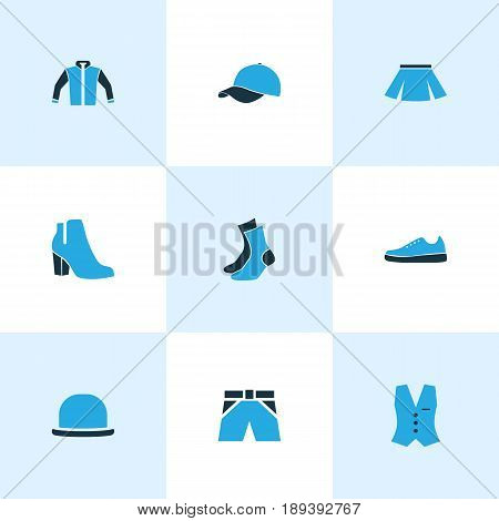 Clothes Colorful Icons Set. Collection Of Sneakers, Vest, Female Boots And Other Elements. Also Includes Symbols Such As Shoes, Windbreaker, Boots.