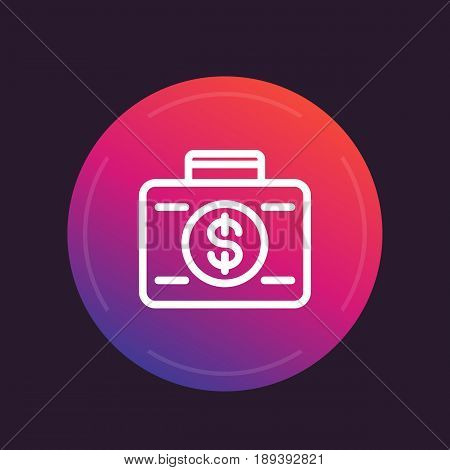 investing line icon, banking, investor, money, suitcase with dollar symbol