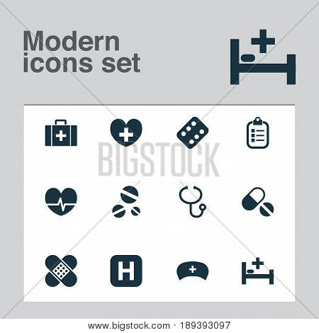 Antibiotic Icons Set. Collection Of Bandage, Cure, Rhythm Elements. Also Includes Symbols Such As Pills, Heartbeat, Chest.
