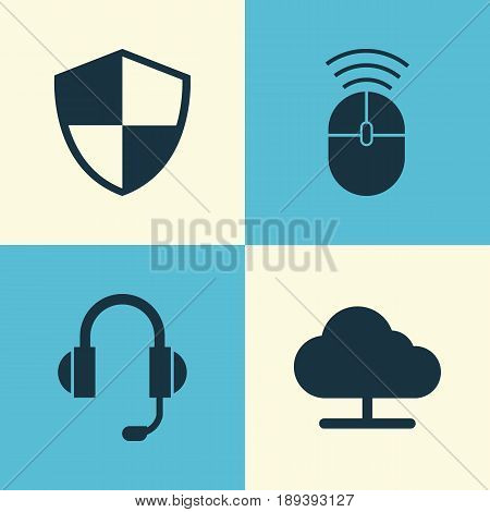 Device Icons Set. Collection Of Tree, Computer Mouse, Defense And Other Elements. Also Includes Symbols Such As Shield, Mouse, Earphone.