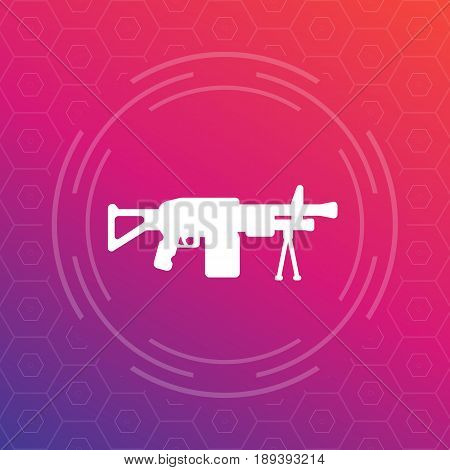 Machine gun, automatic firearm icon, eps 10 file, easy to edit
