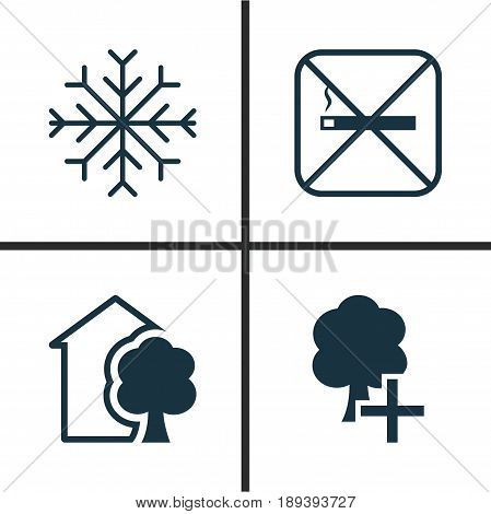 Eco-Friendly Icons Set. Collection Of Insert Woods, Snow, Cigarette And Other Elements. Also Includes Symbols Such As Home, Add, Snow.