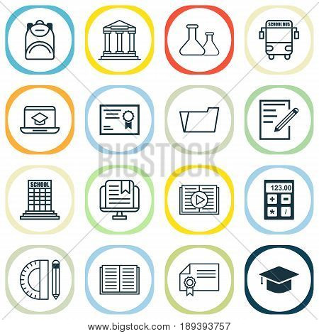 Education Icons Set. Collection Of Academy, Distance Learning, Certificate And Other Elements. Also Includes Symbols Such As Reader, Study, Chemical.