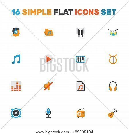 Music Flat Icons Set. Collection Of Acoustic, Karaoke, Controlling And Other Elements. Also Includes Symbols Such As Radio, Microphone, Earmuff.