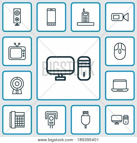 Icons Set. Collection Of Television, Universal Serial Bus, Telephone And Other Elements. Also Includes Symbols Such As Camera, Control, Camcorder.