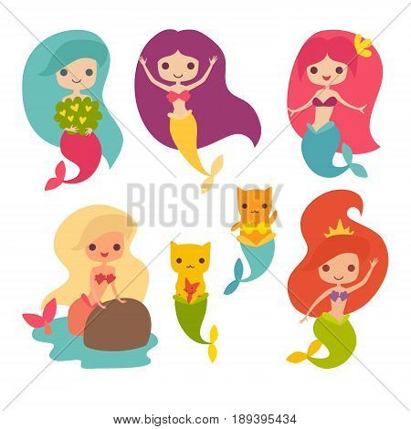 Mermaid girls vector illustration. Cute cartoon card with little mermaid. Cat mermaid under the sea. Isolated on white. Fish corals and seaweed cartoon style