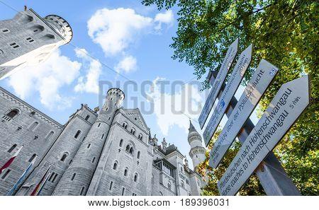 Hohenschwangau , Germany - September 2016: another view on Neuschwanstein castle