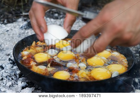 Fried Eggs Cooking On Camp Fire In Smoke