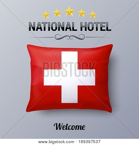 Realistic Pillow and Flag of Switzerland as Symbol National Hotel. Flag Pillow Cover with Swiss flag