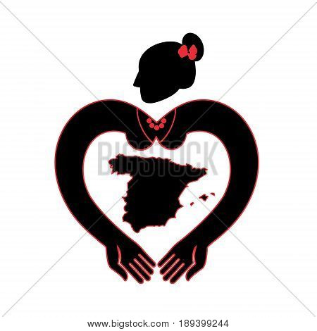 Map of Spain. A symbolic image of Spain. Flamenco dancer with hands in the form of heart