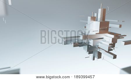 Geometric cubes and rectangles, buildings, shapes 3d render illustration
