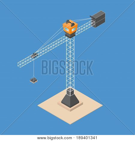 Industrial construction crane. Isometric crane with bricks standing on sand. Vector