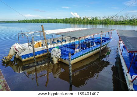 Weston,Beaufort,Sabah-May 28,2017:View of tourist speed boats in turquoise waters in Weston,Sabah,Borneo.Weston Wetland Park  is one of the very large river-mouth wetlands in North Borneo.