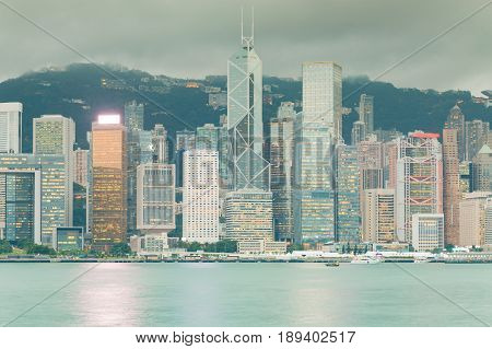 Office building central business downtown sea front Hong Kong cityscape background