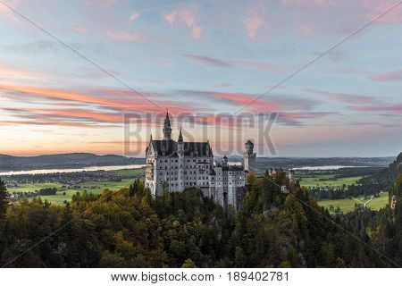 Neuschwanstein castle at the sunset. Bavaria, Germany