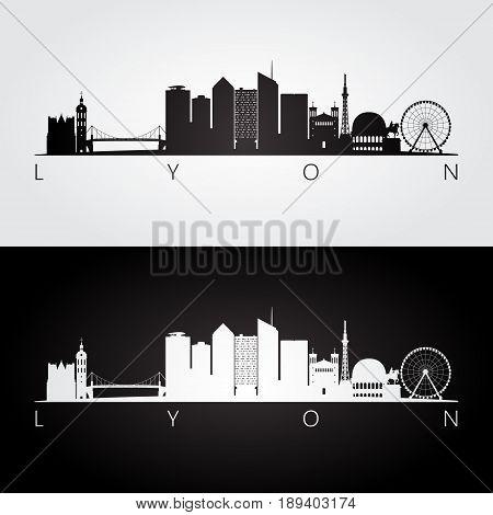 Lyon skyline and landmarks silhouette black and white design vector illustration.