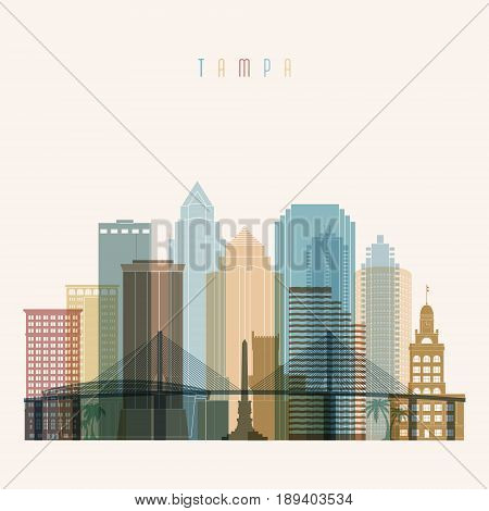 Transparent style Tampa state Florida skyline detailed silhouette. Trendy vector illustration.