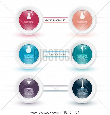 Vector infographic template with laboratory glassware icons. Modern concept with chemical theme on the white background.
