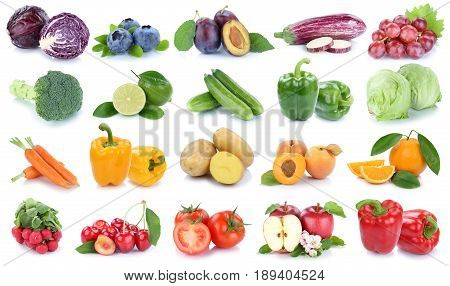 Fruits And Vegetables Collection Isolated Apple Orange Grapes Colors Tomatoes Fresh Fruit
