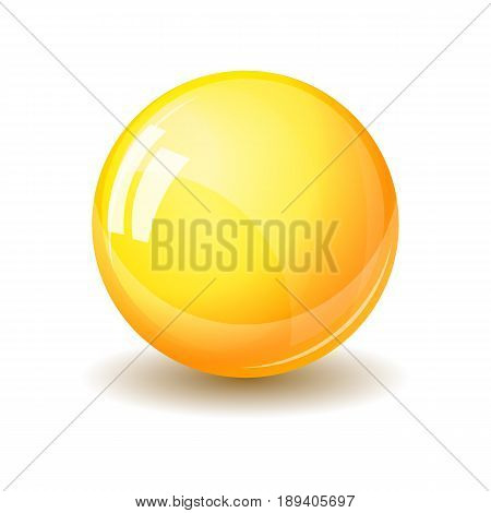 Glass sphere, realistic vector illustration. Yellow glossy ball with reflections and shadow isolated on white backround