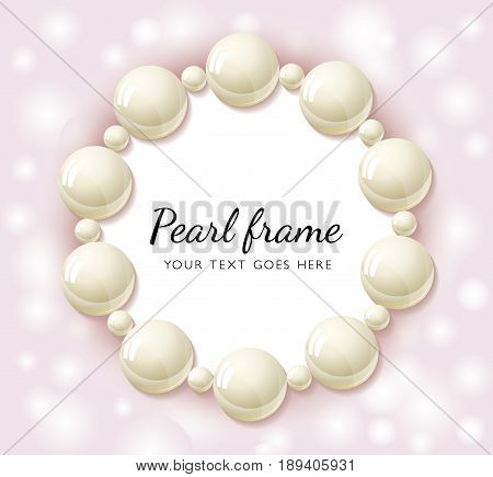 Pearl beads round frame on pink bokeh background. Wedding invitation white pearls background. Realistic Vector illustration