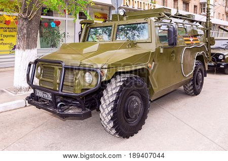 Samara Russia - May 7 2017: High-mobility vehicles GAZ-2330 Tigr is a Russian 4x4 multipurpose all-terrain infantry mobility vehicle