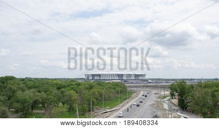 Rostov-on-DonRussia- May 282017: Construction of a new stadium for the FIFA world Cup 2018. By passing cars