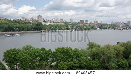View of the city of Rostov-on-Don from the left bank of the Don River