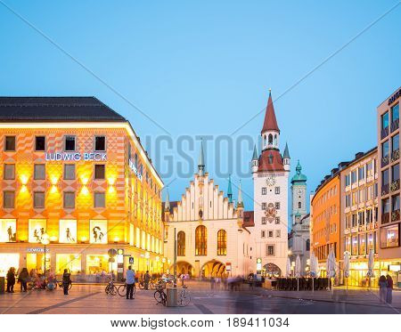 Munich, Germany - June 6, 2016: Munich Old Town Hall near Marienplatz town square at night in Munich, Germany.