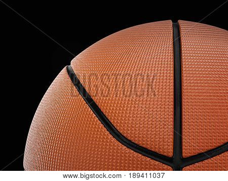Basketball ball on a black background. 3D illustration.