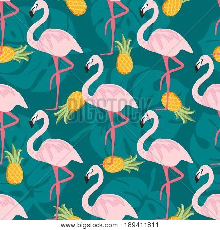 Seamless pattern with pink flamingo, pineapples, tropical leafs. Beach background. Tropical paradise