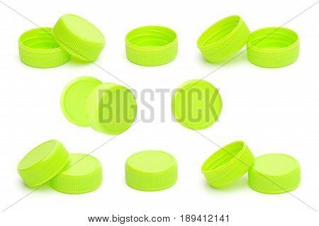 set of green plastic bottle cap isolated on white background